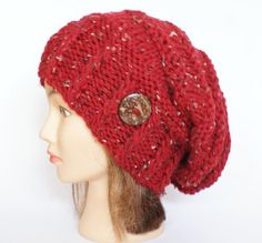 Red tweed slouch hat women  beanies hat  Slouch by Johannahats, $41.00