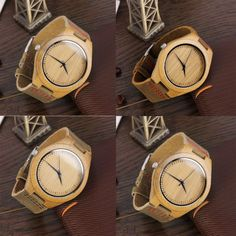 New Fashion Mens Watches Genuine Leather Band Bamboo Wood Wooden Watch DH Watches For Men, Men's Watches, Wooden Watch, Omega Watch, Pu Leather, Bamboo, Quartz, Mens Fashion, Band