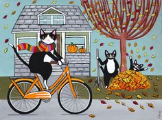 Picking up the Leaves - Original Autumn Cat Folk Art Painting by KilkennycatArt (Ryan Conners) Illustrations, Illustration Art, Frida Art, Image Chat, Cat Cards, Autumn Art, Cat Drawing, Pretty Cats, Halloween Cat