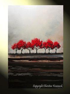 CUSTOM Original Art Abstract Painting Red Trees Large Textured Modern Autumn Fall Tree Landscape Canvas Wall Art-Christine - Christine Krainock Art - Contemporary Art by Christine - 2
