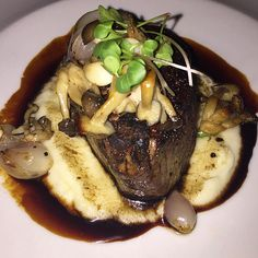 We're hungry just looking at this photo of the 8 oz. Filet Mignon with Beech Mushrooms, Whipped Potato and Montepulciano Sauce taken by @theconnoseuirsdaughter.