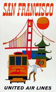 Vintage Travel Poster - San Francisco - (United Air Lines). Retro Airline, Airline Travel, Vintage Airline, Air Travel, Travel Usa, School Advertising, Advertising Poster, United Airlines, Party Vintage