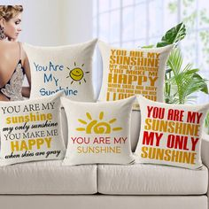 You Are My Sunshine Pillow Cases Linen Letters Cushion Cover Case Love Pillowcase for Sofa Home Bedding 45cm*45cm Valentine Gift