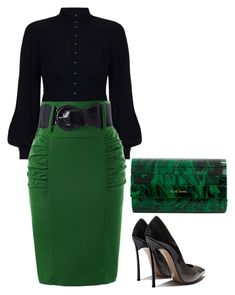 """Green and Black"" by hisprincess2017 on Polyvore featuring Zimmermann and Elie Saab"