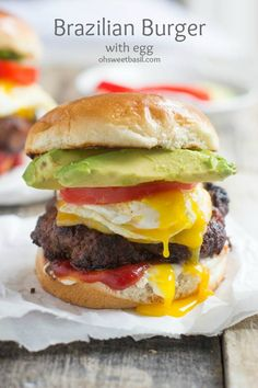 The Brazil Burger. This is the best dang burger we have ever devoured! So delicious. And the burger, yup it has a secret ingredient. The Best Burger, Good Burger, Yummy Burger, I Love Food, Good Food, Yummy Food, Hamburgers, Cheeseburgers, Beef Recipes