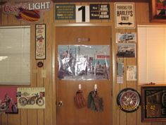 Posters, baseball gloves ,clock