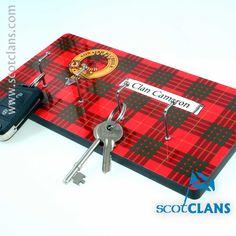 Cameron Clan Crest & Tartan Key Rack. Free Worldwide Shipping Available
