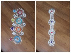Here are some simple, easy and quick colourful borders in Rangoli. It was augment your Rangoli design with these borders or can simply put them along the wal. Rangoli Borders, Rangoli Patterns, Kolam Rangoli, Special Rangoli, Beautiful Rangoli Designs, Simple Rangoli, Diwali, Decorating Your Home, Crochet Necklace