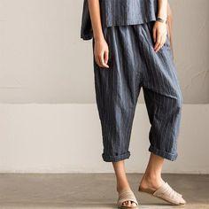 Korean Style Stripe Linen Pants Skirt Women Clothes K7187A