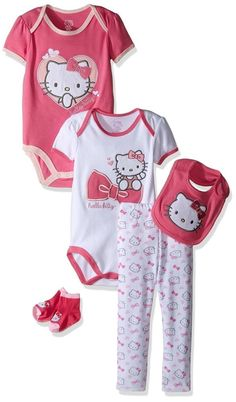 b36f8d985ab4d Hello Kitty Baby Girls 2 Bodysuits Bib Pant Bootie 5 Piece Set 12 Month for  sale online | eBay