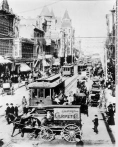 Busy intersection of Spring Street and Third Street, looking north from Third, Downtown Los Angeles, ca.1905