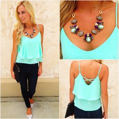 "Dress up or dress down the ""Favorite cross tank"" (28.99) available in black  mint now at #Tria and online at www.sophieandtrey.com! #newarrivals #freeshipping #style"