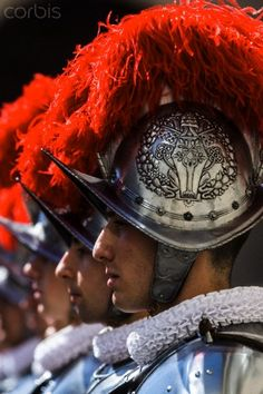 New Swiss Guards recruit attend a swearing-in ceremony in San Damaso square at the Vatican. 35 new recruits sworn-in on the anniversary of the sack of Rome when they protected Pope Clement VII hideout at castel Sant' Angelo on May 6, 1527.