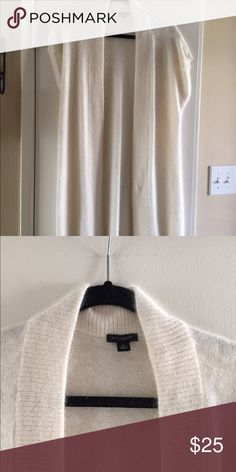 Banana Republic sweater Cashmere, white long sweater to top of knees with short sleeves. Size medium, dry clean only. Looks great with long sleeved top underneath Banana Republic Sweaters Cardigans