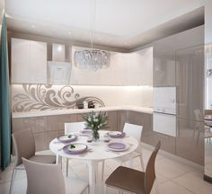 Кухня-гостиная в квартире на Державина 47. Кухня Condo Kitchen, Modern Kitchen Cabinets, Kitchen Cabinet Design, Kitchen Flooring, Interior Design Kitchen, Kitchen Furniture, Kitchen Decor, Small U Shaped Kitchens, Home Room Design