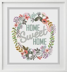 Cross Stitch Pattern Home Sweet Home Wreath Modern Cross