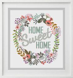 Cross Stitch Pattern Home Sweet Home Wreath Modern Cross