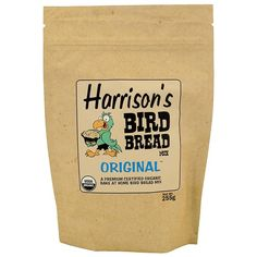 Harrison's Bird Bread Mix - Original - Organic Parrot Treat Bake some bread for your bird. Just add an egg, some oil and some water and then pop it in the oven.  Harrison`s Bird Bread Original is an organic baking mix that allows you to bake for your bird. This is the Original flavour, but you can choose `Hot Pepper` or `Millet & Flax` flavours, providing your bird with choice and variety!