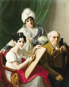 """""""Accomplished"""" ladies can also draw. but she got to stare at Mr Darcy, so who cares. beginning of c French school - A young artist drawing her father Couple Painting, Woman Painting, Jane Austen, Art Through The Ages, 18th Century Costume, Photo D Art, Cool Paintings, Illustrations, Artist At Work"""