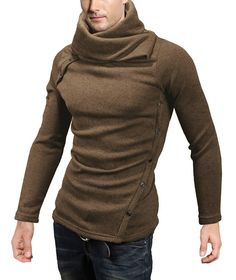 3e375ef8262170 DJT Mens Turtleneck Slim Fit Oblique Line Button Pullover Sweater at  Amazon… Sweater Shirt,
