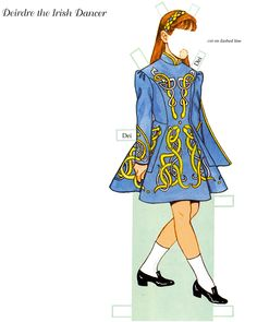Little Dancers Paper Dolls by Tom Tierney - Dover Publications Inc., 2002: Plate 9 (of 54) This doll/outfits were previously published as  Irish Dancer Paper Doll - 1999