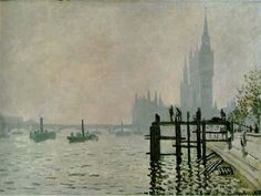 Monet, Claude (1840-1926) - 1871 The Thames at Westminster (National Gallery, London)