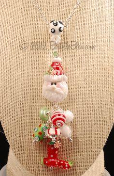 $85  Jolly Old St Nick Charm Pendant - Handmade lampwork art beads, jewelry & supplies by Bastille Bleu Lampwork