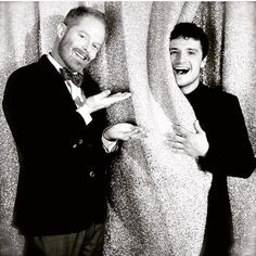 """""""My friend Josh Hutcherson being shy behind a sparkly curtain before receiving his award for his work with We Are SBNN"""" - via Jesse Tyler Ferguson Twitter"""