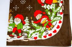 Vintage Christmas  Scandinavian Tablecloth   Elves Swedish Scandinavian Tablecloths, Scandinavian Christmas, Elves, Vintage Christmas, Vintage Items, My Etsy Shop, Kids Rugs, Unique Jewelry, Handmade Gifts