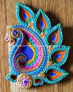 Amber-art-creations, arts, crafts and DIY projects: DIY Hand Painted Diyas Henna Designs, Diya Designs, Rangoli Designs, Diya Decoration Ideas, Diy Diwali Decorations, Festival Decorations, Decor Ideas, Decorating Ideas, Craft Ideas