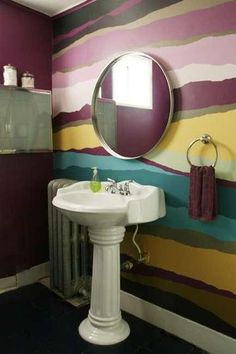 Awesome multi-colored bathroom wall.