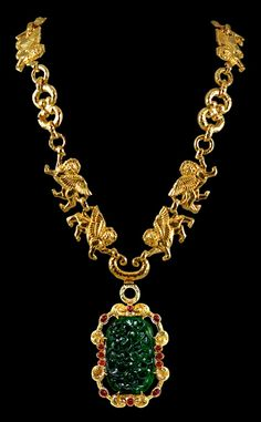 DAVID WEBB Carved Jade & Ruby Necklace - Yafa Jewelry