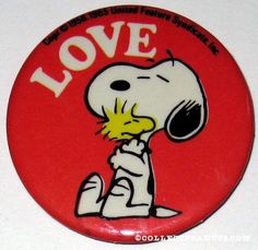 """Snoopy hugging Woodstock """"Love"""" Button from Butterfly Originals"""