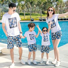Free Shipping Casual Summer Family Outfits clothing mother daughter father son Sets cotton White short sleeve T shirt & Pants