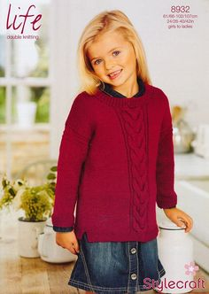 Girl's Cable Jumper in Stylecraft Life DK - 8932 - New in Store