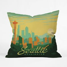 Emerald City Skyline Throw Pillow Cover | dotandbo.com