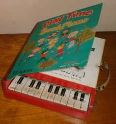 "Initial inquiry for piano lessons...""We have a family piano that's been handed down to us....""    VINTAGE 1960s ~ PLAY TIME BOOK PIANO musical toy instrument 12 keys, 8 songs"