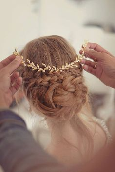 For a more regal but equally romantic feel, trade out a leafy flower crown for a gold tiara at your fall wedding.