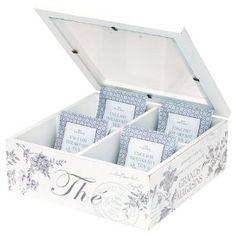 Edith White Wooden Tea Box: Amazon.co.uk: Kitchen & Home
