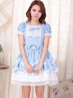 Sweet Lolita Dress OP Aqua Square Neck Short Sleeve Cotton Lolita One Piece Dress
