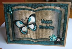 Butterfly open book-style card A5 size