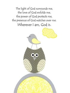 Baby Boy Nursery, Kids Wall Art, Gray and Yellow, Nursery Art, Owl, Bird, Robin Roberts' Prayer, 8x10 Print