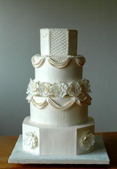 Jessica- Buttercream Wedding Cake by Creative Cake Designs (Christina), Amazing Wedding Cakes, White Wedding Cakes, Amazing Cakes, Square Wedding Cakes, White Cakes, Gorgeous Cakes, Pretty Cakes, Fondant Cakes, Cupcake Cakes