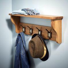 Solid oak coat rack with shelf, £99, 25cm high x 68cm wide x 14.5cm deep