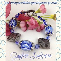 Sapphire Blue Bracelet Lampwork and Gunmetal heart toggle clasp