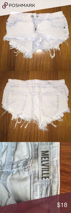 Brandy Melville jean shorts Brandy Melville Jean shorts. Light denim wash. Very cute shorts in good condition. The tag says size 36 but I'm usually a 0 and these fit me. This brand has very different sizing. Brandy Melville Shorts Jean Shorts
