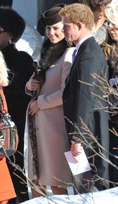 Pregnant Kate Middleton is radiant and smiling at a friend's wedding next to Prince Harry