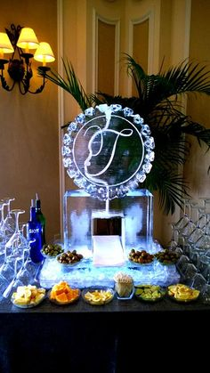 Beautiful monogram single track ice luge for a wedding reception. Reception Ideas, Reception Decorations, Wedding Reception, Wedding Stuff, Dream Wedding, Wedding Ideas, Water Theme Wedding, Ice Sculpture Wedding, Ice Luge
