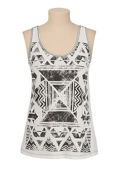 Contrast tribal print tank (original price, $26) available at #Maurices