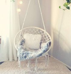 Boho dream catcher hanging chair rattan chair hammock swing macrame beige is part of Hanging hammock chair - 47 2 Weight Capacity 265 lbs Material Cotton rope, Iron hoop Cute Room Decor, Teen Room Decor, Room Ideas Bedroom, Hammock In Bedroom, Bedroom Swing Chair, Cozy Teen Bedroom, Bed Room, Teen Rooms, Trendy Bedroom